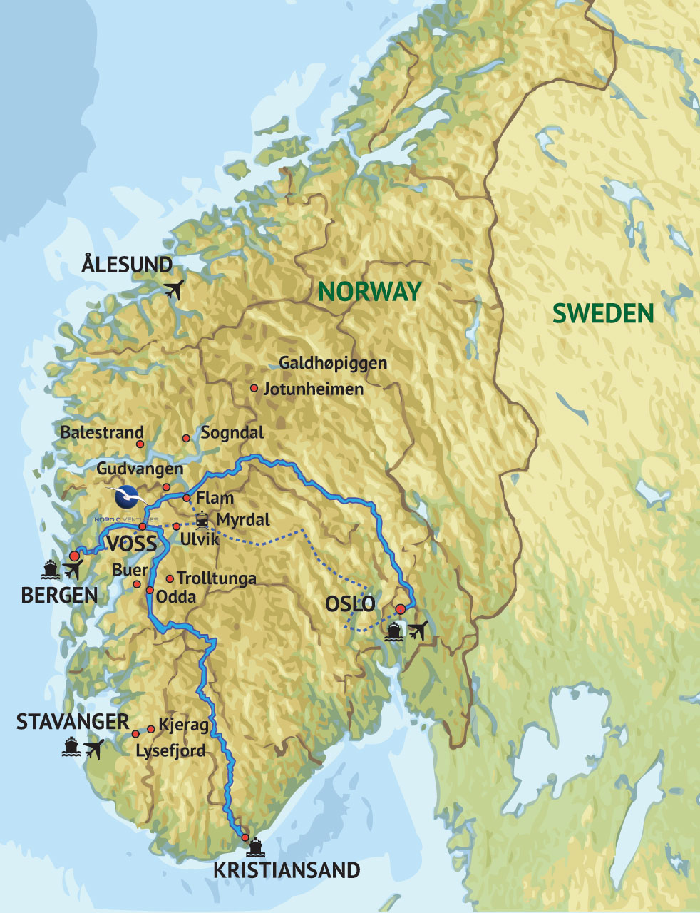 Map Of Our Region Nordic Ventures - Norway lakes map