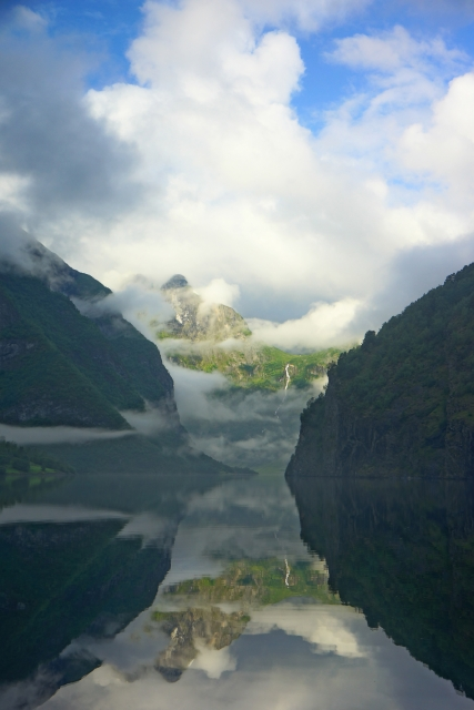 The Naeroyfjord clearing up after a rainy day