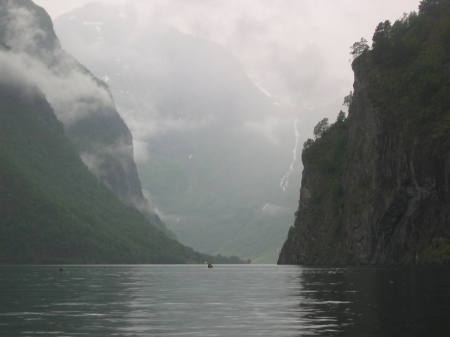 The Naeroyfjord on a rainy day